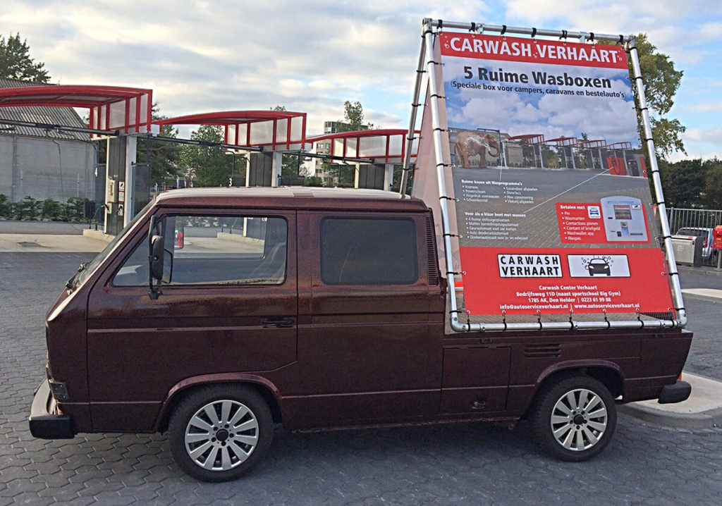 Mobiele reclame Carwash Verhaart